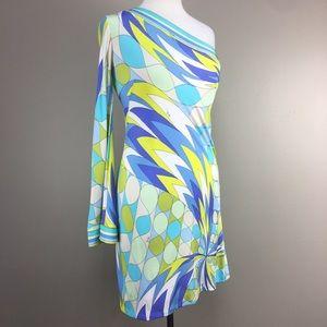 Emilio Pucci 60s Mod Print One Shoulder Dress